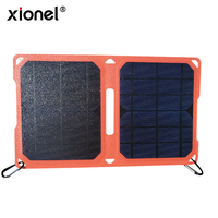 Xionel 5V 10W Folding Solar Charger with High Efficiency Monocrystalline Silicon Solar Panel for Mobile Phone Solar Battery