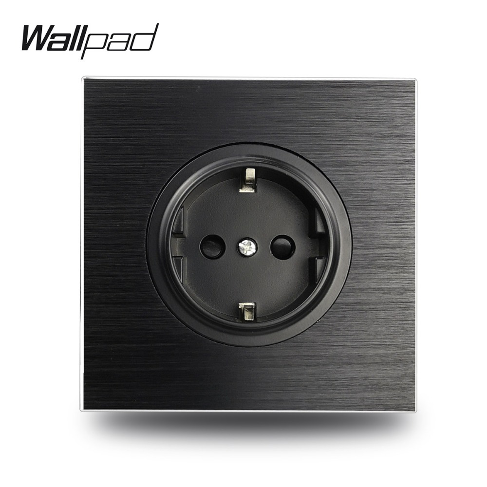 Wallpad L6 Black Aluminum EU Schuko Wall Electrical Power Socket Satin Metal, 86 * 86 Mm