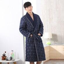 Frühling Herbst dünne Baumwolle bademantel mann robe verlängern 3xl plus größe langhülse sleepwear verschiffen frei