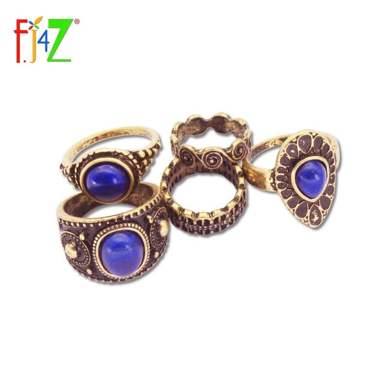 Vintage Ring Sets Fashion Designer Antique Alloy Nature Blue Stone 5pcs Midi Finger Rings For