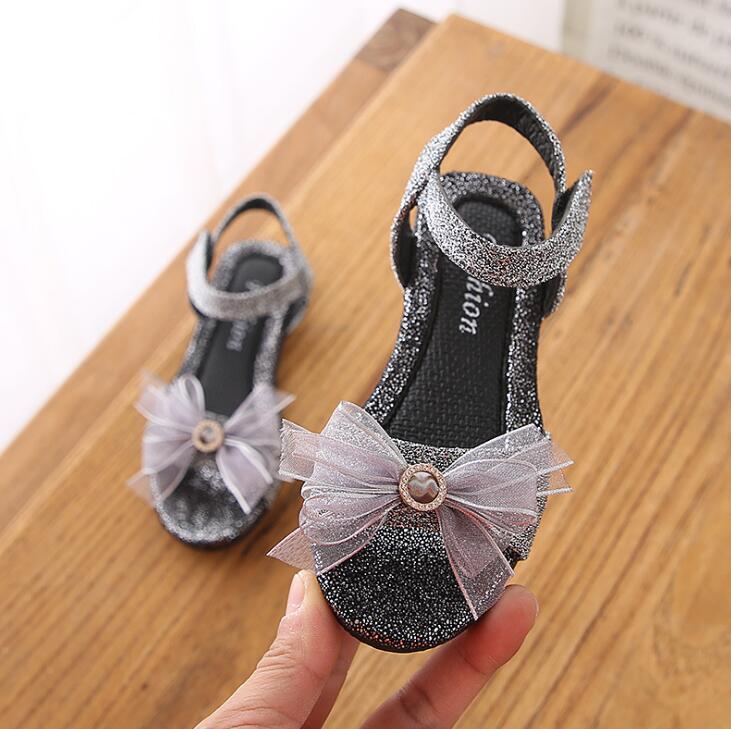 2019 Neuestes Design Prinzessin Mädchen Sandalen Kinder Schuhe 2019 Neue Sommer Große Bowtie Baby Mädchen Gliter Schuhe Nette Mädchen Strand Sandalen Größe 26 -30