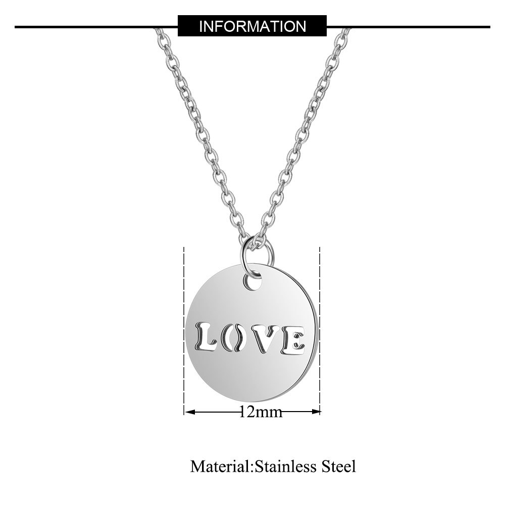 2019 316L Stainless Steel 4 Style Love Letter Charm Necklace Gold Silver Tone Heart Love Round Tag Pendant Long Chain Necklace in Chain Necklaces from Jewelry Accessories