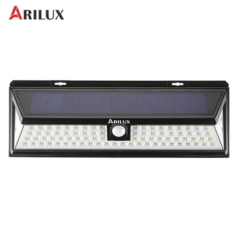 ARILUX AL-SL21 90 LED Solar Light 7W 1050LM PIR Motion Sensor Light Outdoor Waterproof Wide Angle Wall Lamp