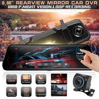 ANYTEK T12+ 9.66 Inch 2.5D Curved Glass Full Touch Dual Lens Front 1080P Rear 720P G Sensor Auto Boot Recording Car DVR