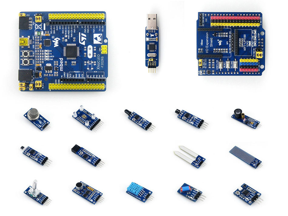 STM32 Nucleo Board XNUCLEO-F302R8 ARM Cortex-M4 Development Kit Compatible NUCLEO-F302R8+ST-LINK/V2 (mini) +IO Expansion+Sensors