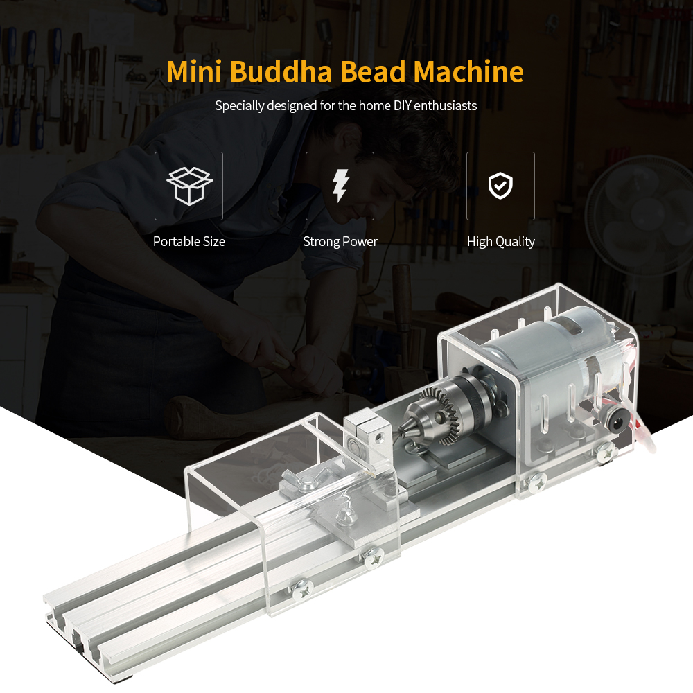 100W Mini Beads Machine Miniature Lathe DIY Woodworking Buddha Pearl Lathe Grinding and Polishing Drill Rotary Tool 12-24VDC tungsten alloy steel woodworking router bit buddha beads ball knife beads tools fresas para cnc freze ucu wooden beads drill