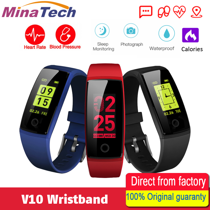 V10 Smart Wristband Fitness Bracelet 0.96 OLED display Heart Rate Monitor Smart band Activity Tracker Pedometer Blood Pressure