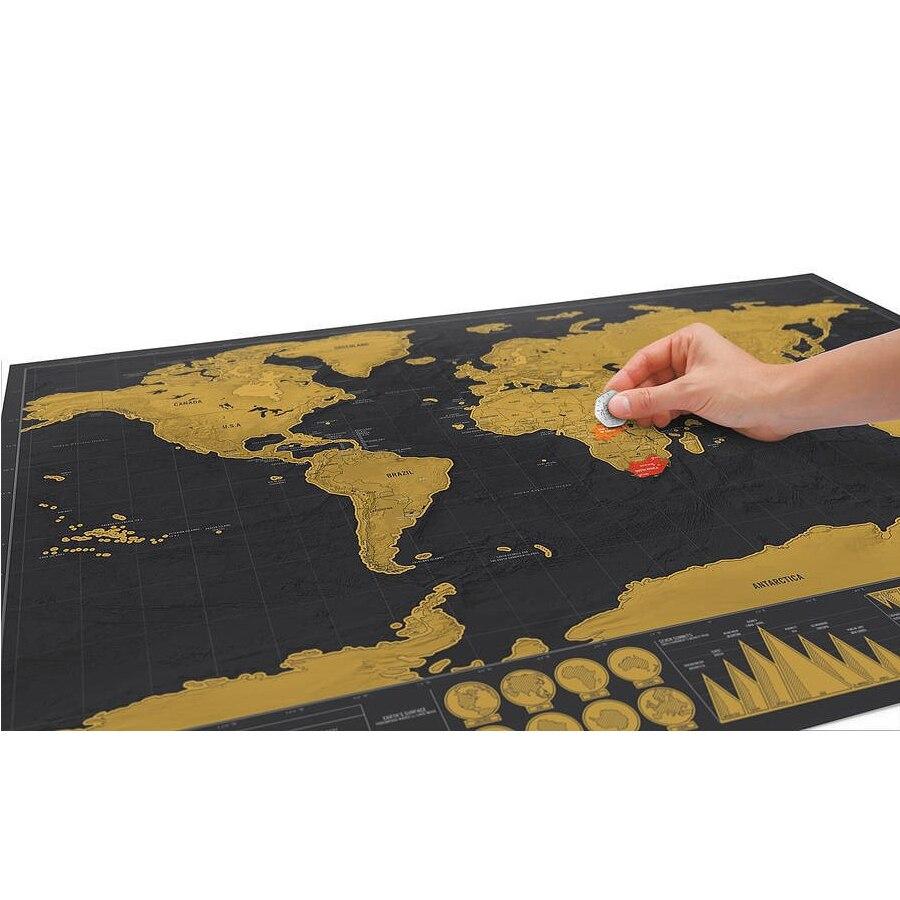 Роскошные черные украшения Карта мира Скретч Карта мира персонализированные путешествия царапины для карты комнаты украшения дома наклей...