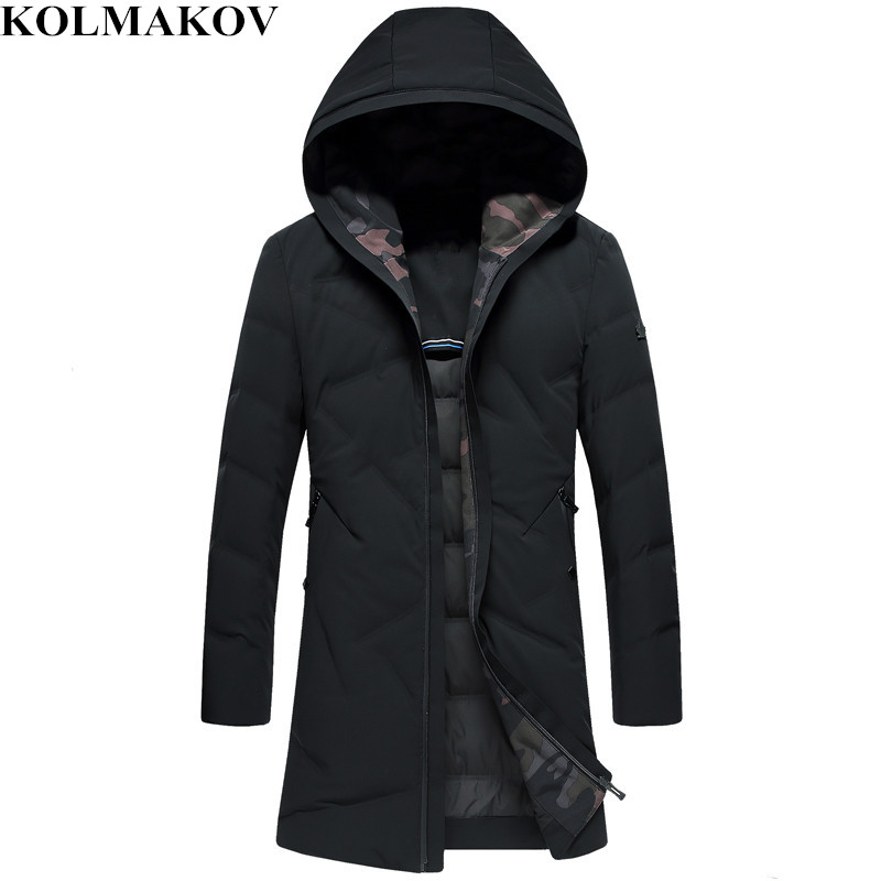 KOLMAKOV New Mens 85% White Duck   Down   Jackets 2018 Winter M-3XL Black Thickening Long   Down     Coats   Homme Hooded Overcoats Men