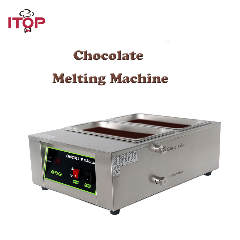 ITOP 2 Lattices 8KG Digital Chocolate Melting Machine Stainless Steel Chocolate Fountains Machine Commercial 110V 220V