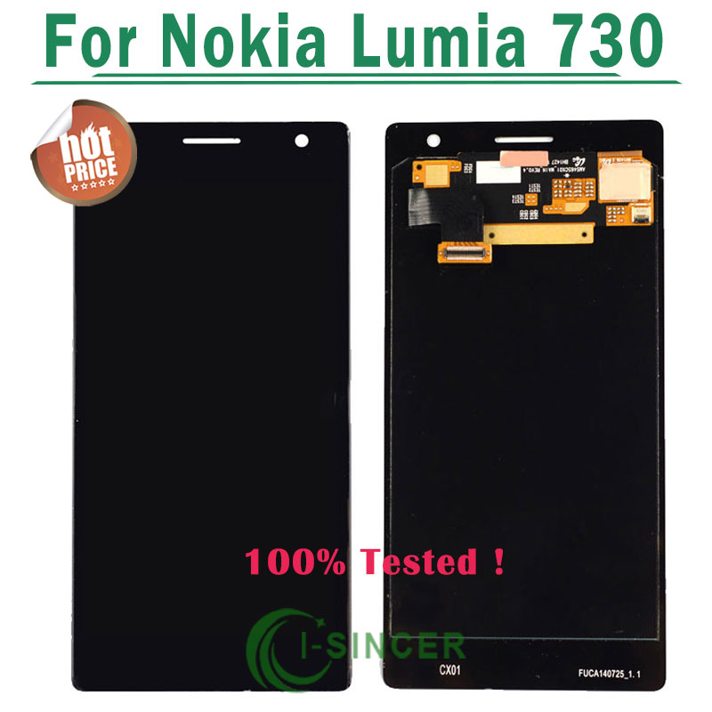 10/PCS Replacement For Nokia Lumia 730 black verizon Glass LCD Screen Display Digitizer Touch Assembly free DHL