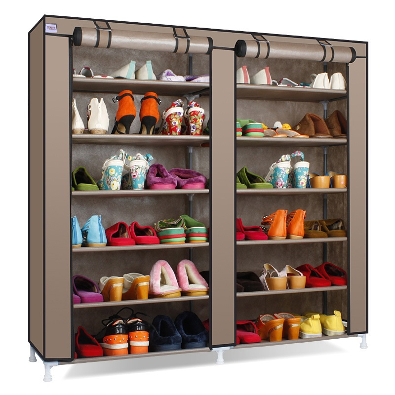 Double Row Shoe Cabinet Non Woven Fabrics Large Shoe Rack Organizer Removable Shoe