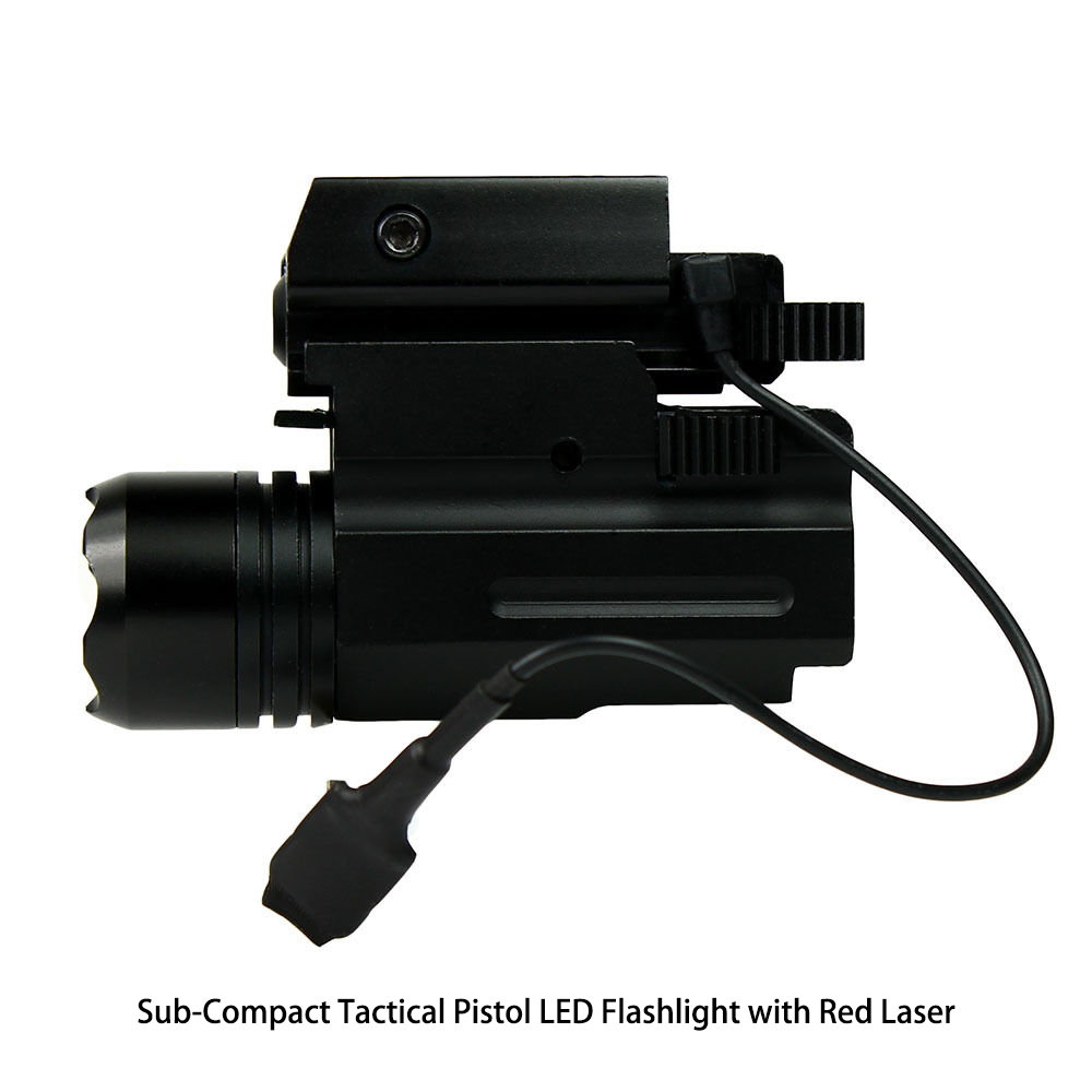 Compact Pistol LED Flashlight w/ Low Profile Red Laser Sight fits Ruger