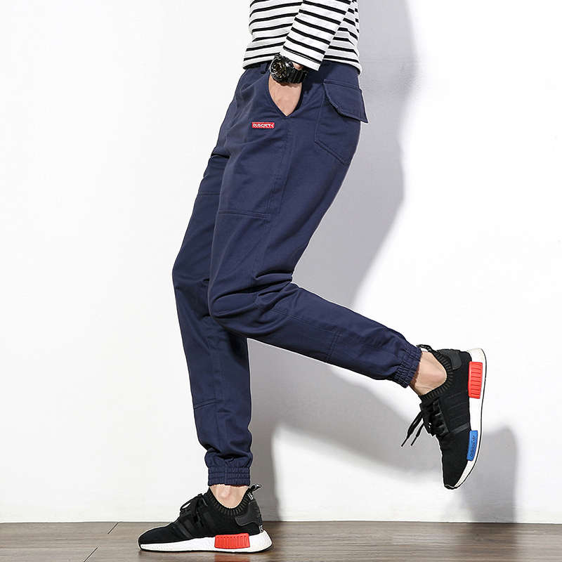 Japan Style Men Casual Pant 2018 Autumn Slim Fit Cargo Pants Boys Joggers Mid Waist Cotton Plus Size Brand Trousers Male 4Colors