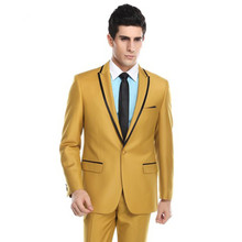 2017 Latest Coat Pant Designs Yellow Men Suit Terno Slim Fit 2 Piece Groom Suits Custom Tuxedo Prom Blazer Masculino Jacket+Pant