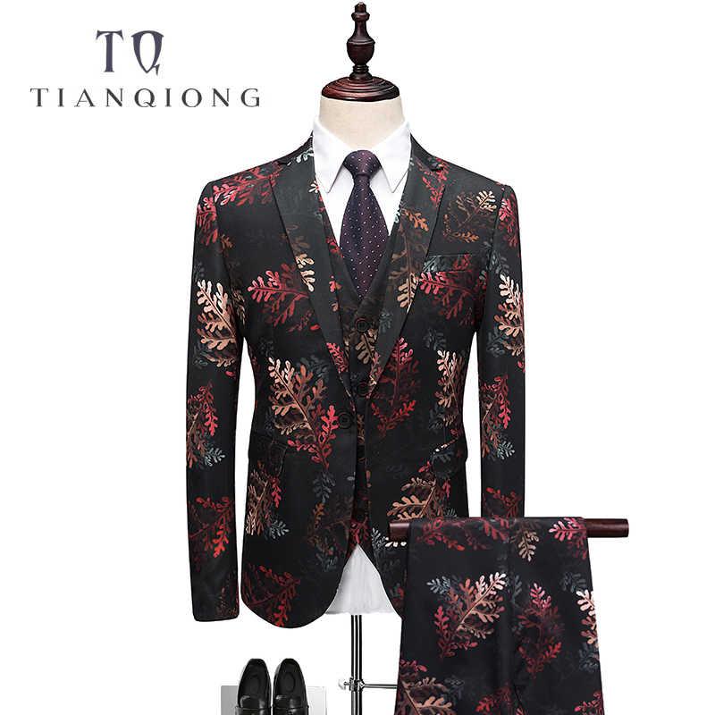 天原作男性スーツ 2018 結婚式のタキシード衣装オムマリアージュクラシックメンズスーツパンツファッションプリントデザイン q345