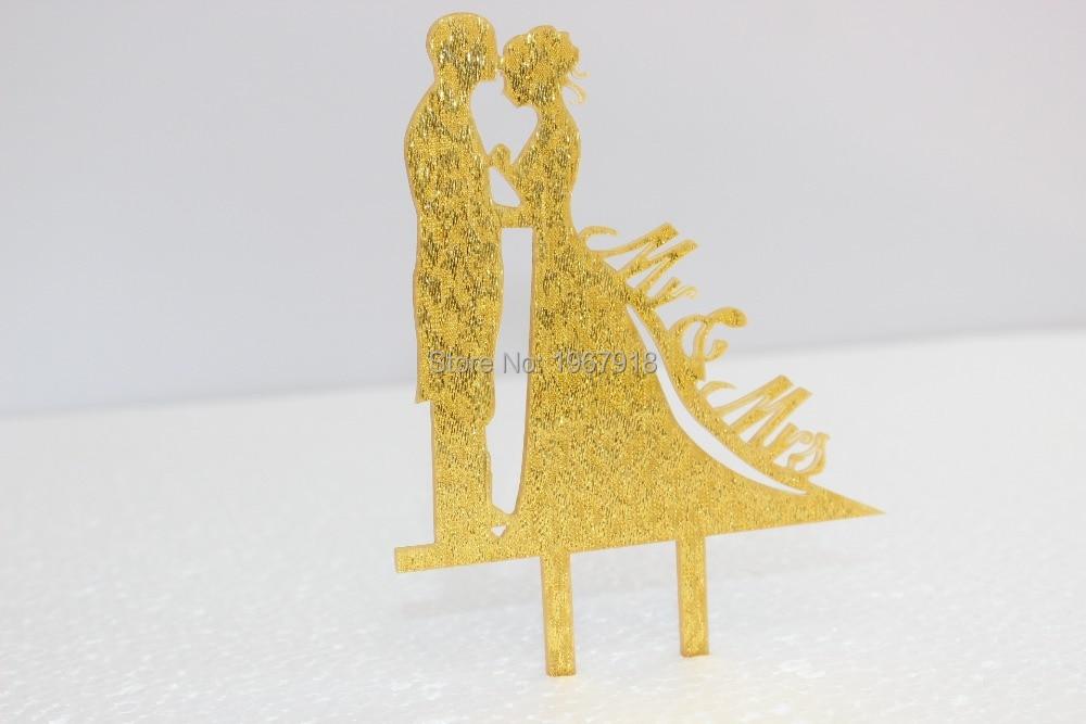 Bride & Groom Gold Glitter Acrylic Wedding Cake Topper Cake Stand ...