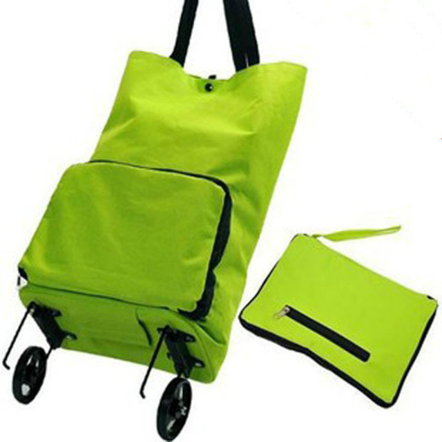 The portable folding bags supermarket shopping cart trolley wheel package shopping bag