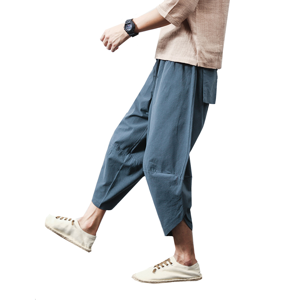 New Fashion Harem Pant Men Casual Baggy Pant Loose Drawstring Waist Solid Linen Trouser Male Style Holiday Pant Slack Size M-5XL(China)
