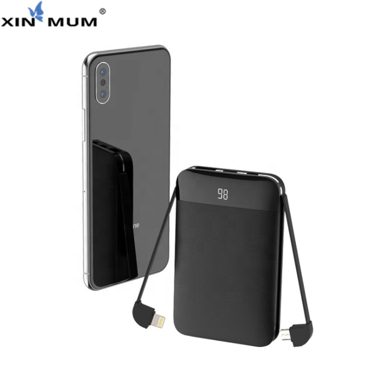 XIN-MUM 8000mah Portable Dual Built-in Cables Fast Charge Pocket PowerBank for iPhone Samsung Xiaomi Huawei etc