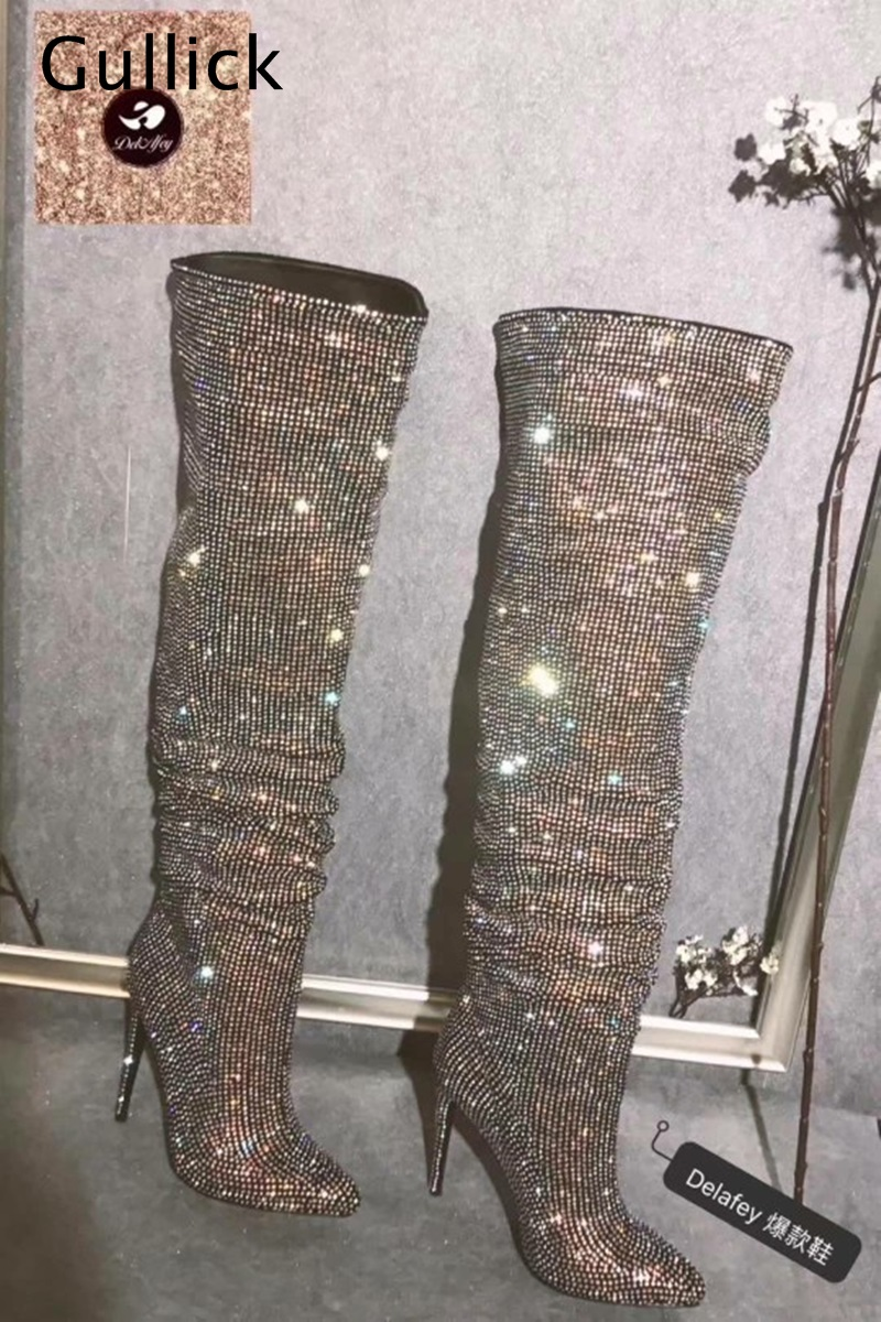 Gullick Women 2018 Winter Blingbling Knee High Boots Diamonds Encrushed Hoof Heels Botas Slipon Tube Booties Fashion RunwayGullick Women 2018 Winter Blingbling Knee High Boots Diamonds Encrushed Hoof Heels Botas Slipon Tube Booties Fashion Runway