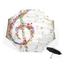 Starke Wind Kreative Frauen 3-Falten Regenschirm Musical Notes Sonnig Und Regnerisch Schirme Dropshipping