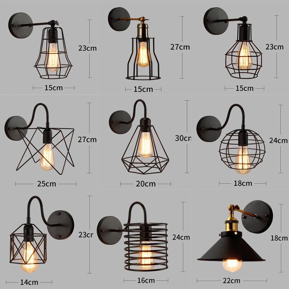 Image 2 - Loft American Iron black lampshade wall lamp vintage cage guard sconce loft lighting fixture modern indoor lighting wall lampsWall Lamps   -