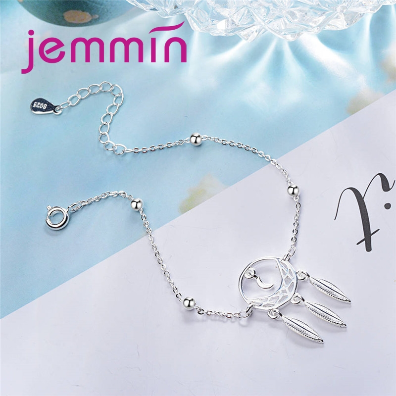 Exquisite New Arrival Moon Leaves Shape For Woman Girls Banquet Accessories 925 Sterling Silver Adjustable Bracelet