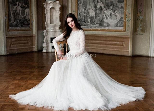 Turtle Neck Wedding Gowns: Elegant Wedding Dress A Line Delicate Lace Long Sleeve