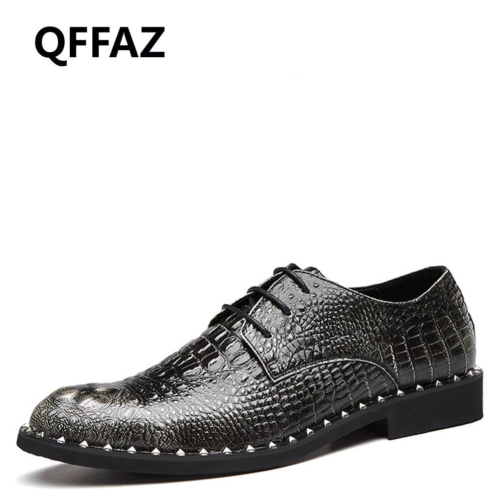 QFFAZ Men Business Dress Shoes Pointed Toe Fashion Leather Crocodile Shoes Flats Oxford Shoes Wedding Shoes