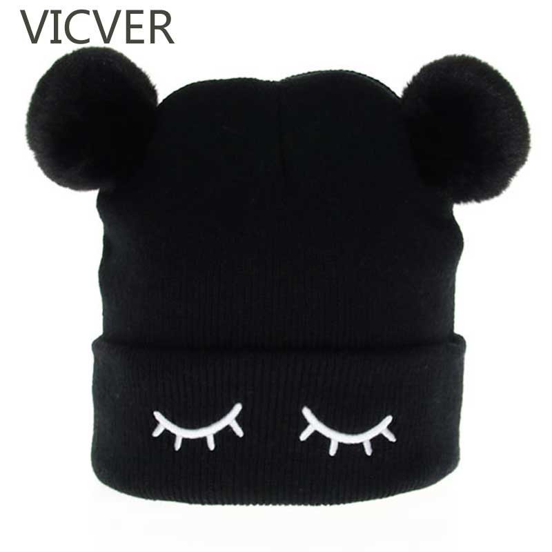 Winter Beanie Hats Warm-Caps Embroidery Kids Cap Skullies Knitted Girls Cute Children