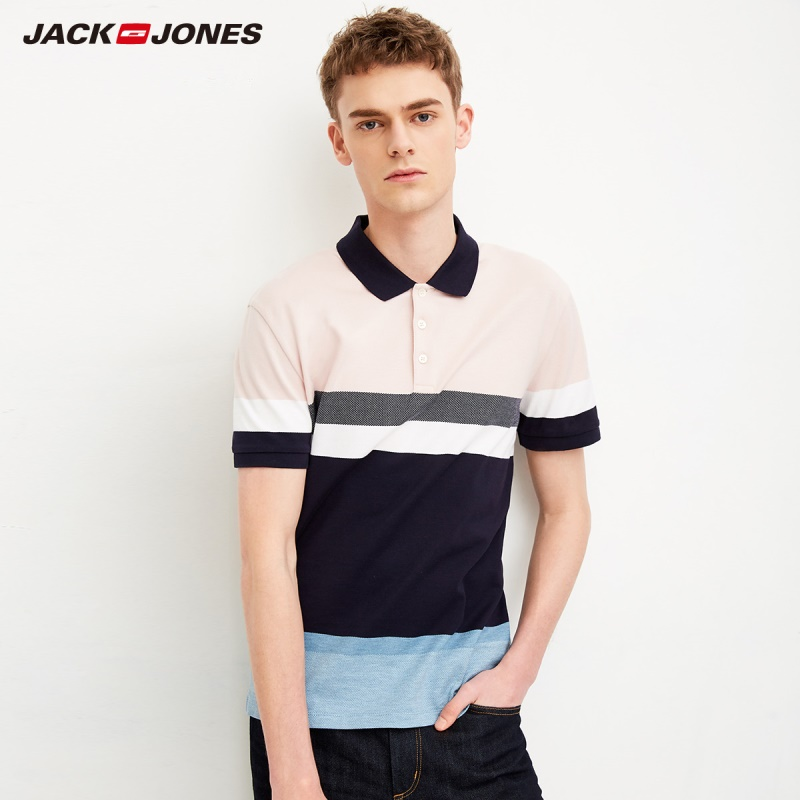 JackJones Men's Cotton Turn-down Collar Striped Slim Fit Short-sleeved Polo Shirt Top Menswear |218106509