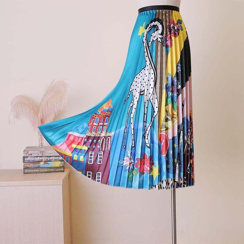 2019 New Summer Fashion High Quality Cartoon Pattern Printing Elastic Waist Casual All-match Graffiti Pleated Skirt