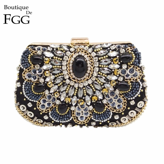 Retro Vintage Women Black Beaded Sequined Diamond Applique Handbag Wedding Party Satin Clutches Purse Minaudiere Evening Bag