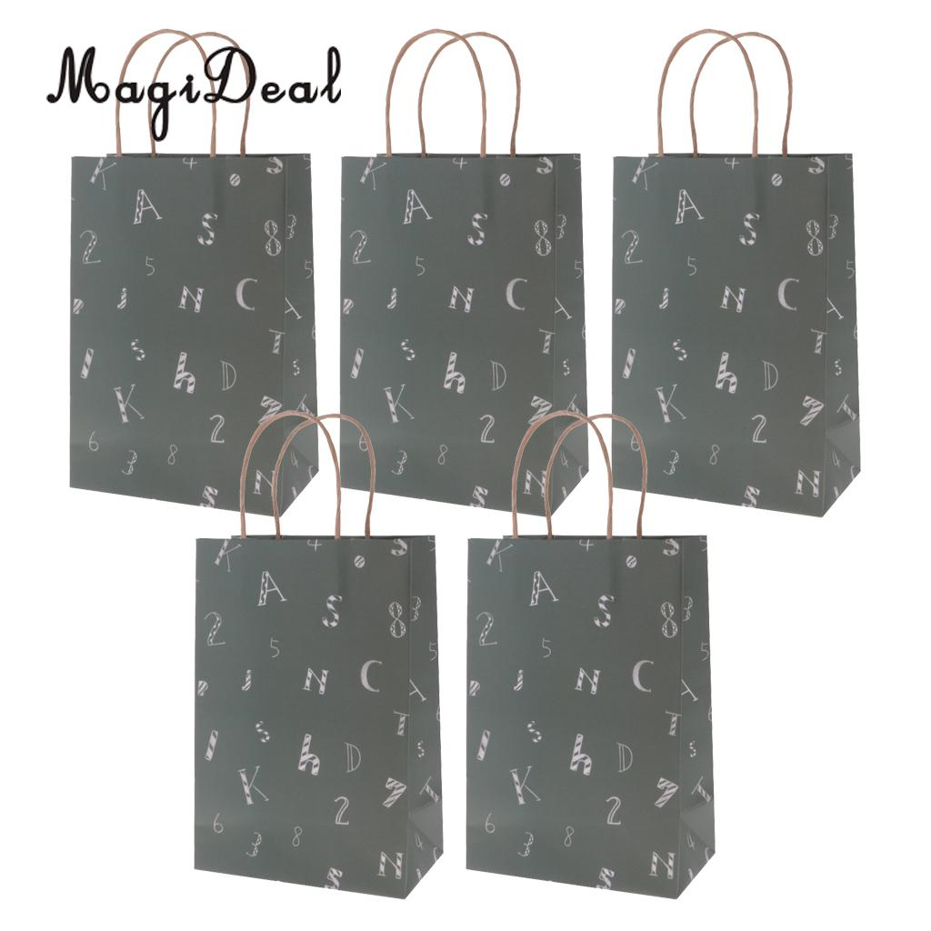 MagiDeal High Quality 5xDark Green Paper Gift Bags Wedding Birthday Festival Gift Event Souvenirs Shopping Favor Bag Three Sizes