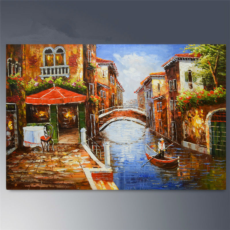Landscape Painting Canvas Abstract Art Art Oil Painting Venice Scenery Scenery Home