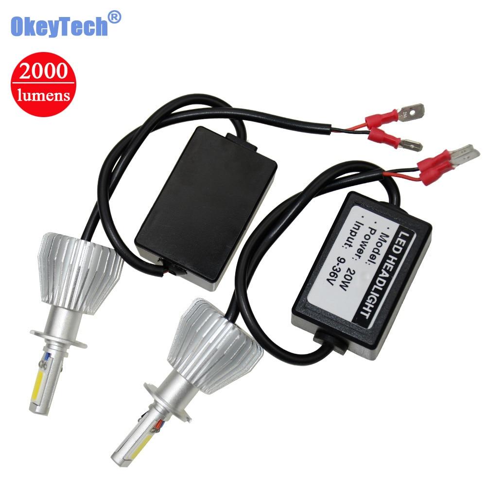 OkeyTech Hi-Lo Car Headlight Bulb 880/881 H8/H9/H11 9005/H10 H1 H3 H7 9003/H4 9006 COB LED 40W 2000LM 6000K White Auto Fog Light