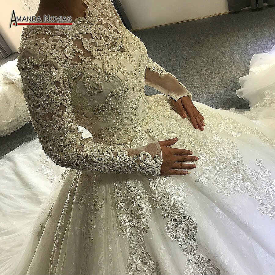 wedding dress 2019 Muslim wedding dress with full lace sleeves amanda novias real work