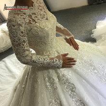 Düğün elbisesi 2020 müslüman düğün elbisesi tam dantel kollu amanda novias gerçek iş