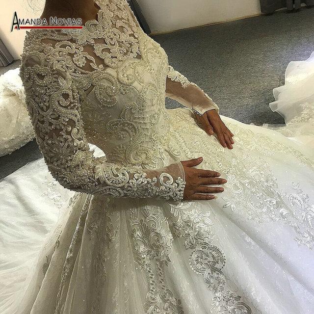 Vestido de noiva 2019 vestido de casamento Muçulmano com mangas cheia do laço amanda novias verdadeiro trabalho