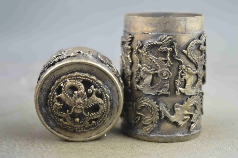 Collectible Handwork Old tibet silver Carve Dragon Phoenix Toothpick box