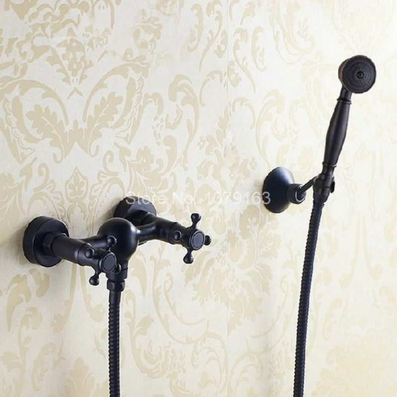Oil Rubbed Bronze Telephone Style Wall Mounted Dual Cross Handles Bathroom Tub Shower Faucet Set w / Handheld Shower ahg011 deck mounted black oil rubbed bronze telephone style ceramic handheld shower bathroom tub faucet dual handles mixer taps wtf514
