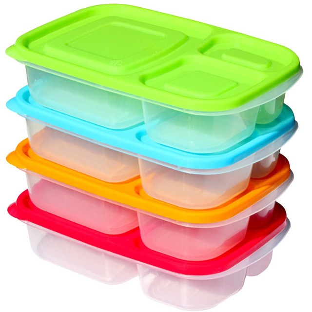3 Compartment Lunch Box Plastic Food Storage Container With Lid