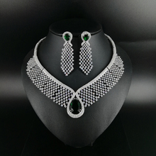 2019 NEW FASHION green water drop CZ zircon necklace earring wedding bridal banquet dinner dressing jewelry set free shipping цена