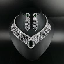 купить 2019 NEW FASHION green water drop CZ zircon necklace earring wedding bridal banquet dinner dressing jewelry set free shipping дешево