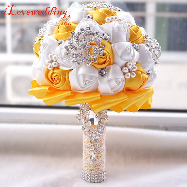 2016 New Design Purple/Pink/Ivory/Orange Bridal Bouquet Silk Rose Flower with Crystal Beads Women Wedding Party Bouquets