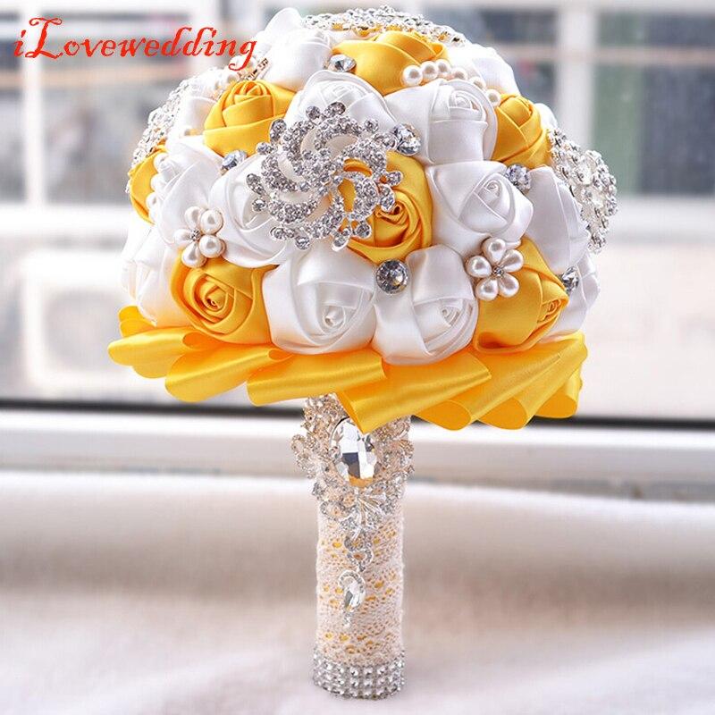 Iloveépouser nouveau Design violet/Rose/ivoire/Orange Bouquet de mariée en soie Rose fleur avec perles de cristal femmes Bouquets de fête de mariage
