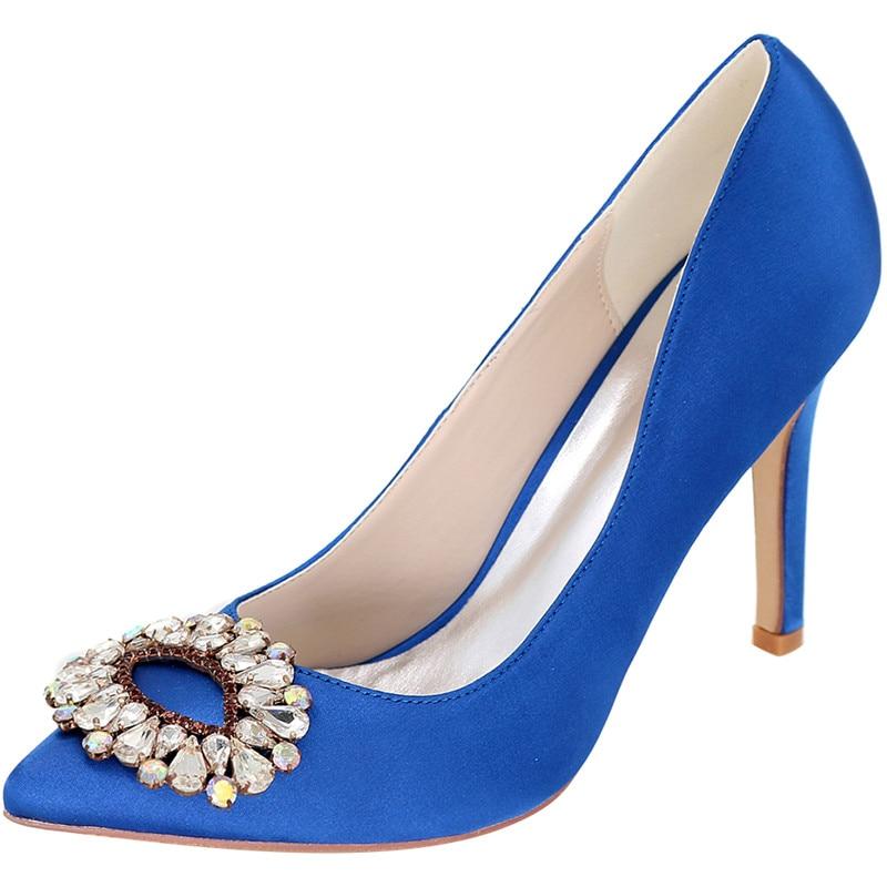 Mariées Bleu Arrivée Cristal Mariage À Pompes Nouveau argent Bout Talons Hauts pourpre Pointu Chaussures De Loslandifen kaki Strass blanc Sexy Femmes 2019 Super UET88qwS