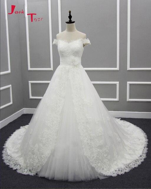 Jark Tozr New Design Off The Shoulder Short Sleeve Pleat Flower Waist Beaded Lace A-line Wedding Dresses Turkey Abito Da Sposa
