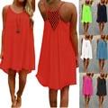 2017 brand new summer dress correa de espagueti ahueca hacia fuera sexy playa de la gasa mini vestidos opacidad vestido de tirantes vestidos más el tamaño